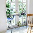 2 Tier Metal Shelves Indoor Plant Stand Display Flower Pots Rack Outdoor Garden