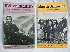 vintage  Unit study books - SOUTH AMERICA and SWITZERLAND  1934