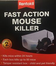 NEW RENTOKIL, FAST ACTION MOUSE KILLER,KILLS MICE WITHIN 24 HOURS(Pack2 In Box)