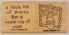 NEW! Stampin Up Thank You Greeting Rubber Stamp Lot Wood Mount Flowers