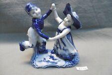 Couple de danseurs, enfants, en faïence de Delft Pays Bas, porte crayon (AZ34)