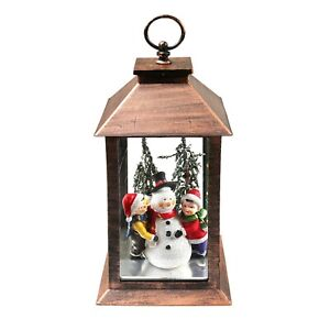 Darice Snowman and Children Holiday Lantern - Hanging Christmas LED Accent Light