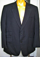CHIC TURNBULL & ASSER GRAY PINSTRIPE SUIT SINGLE BREASTED JACKET PANTS 44R 38 29