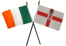 "Ireland Irish & Northern Ireland Flags 4""x6"" Desk Set Table Black Base"