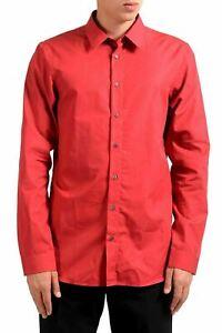 Jil Sander Men's Red Long Sleeve Dress Shirt Size 16 16.5 17 17.5