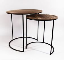 Beistelltisch Set 2 Tische Metall Holzplatte MDF Ø 44 / 34 cm schwarz braun
