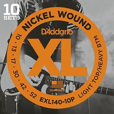 D'Addario EXL140-10P Guitar Strings 10 Sets Light Top/Heavy Bottom 10-52