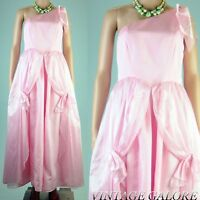 True Vintage 80s pink shiny princess cocktail evening party gown dress Sz S M