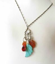 """VINTAGE CHINESE CARVED TURQUOISE PEACH BLOSSOM CARNELIAN STERLING NECKLACE 15"""""""