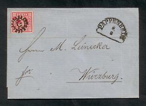 Bayern 1865, Faltbrief, Mi. # 9 a,  3 Kreuzer rot + Mühlradstempel 379 II. Vert.