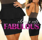 NEW SEXY WOMEN'S PEPLUM MINI SKIRT Size 10 8 S M PARTY CASUAL CLUBBING TOPS