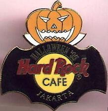 Hard Rock Cafe JAKARTA 1995 HALLOWEEN PIN Jack-o-Lantern w/HRC Logo & Bat Cape