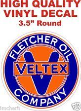 Vintage Style Fletcher Oil Company Veltex Texaco Gas Pump Decal Nice & Glossy