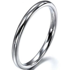 2mm High Polished Men's Women's Tungsten Ring Engagement Wedding Band Silver