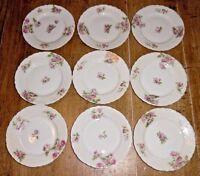 """9 Porcelain Bread & Butter Plates - Austria - Elsa AUS315 - Pink Roses - 6 1/8"""""""