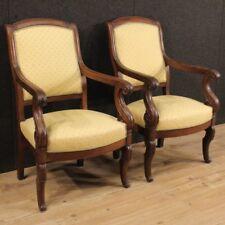 Coppia di poltrone antiche stile Impero mobili salotto sedie in legno 800 XIX