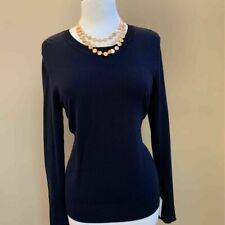 Ellen Tracy Womens Blouse Blue Long Sleeve Bell Crew Neck Top M New