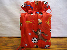 Curious George Monkey sports, red cotton Fabric Handmade square Tissue Box Cover