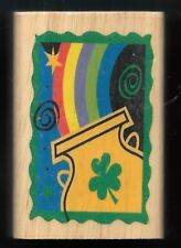 LEPRECHAUN RAINBOW POT of GOLD Irish Post CANADIAN MAPLE COLLECTION RUBBER STAMP