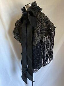 ANTIQUE 1880s VICTORIAN JET BEADED BUSTLE DRESS CAPE