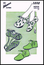 Vintage ADVANCE 3808 Tie-On Shoes Sandals Slipper Slippers Fabric Sewing Pattern
