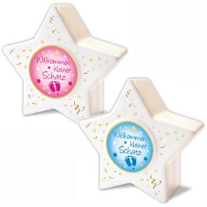 Spardose Stern Baby Geburt Taufe Geldgeschenk Kasse Kind Junge Mädchen Rosa Blau