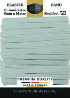 10 Meter x 6 mm Gummiband Gummilitze für Masken Mundschutz - KOCHFEST