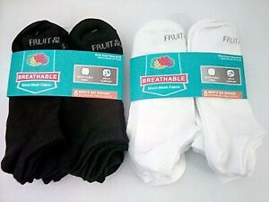 Fruit of the Loom Men'sBreathable Mesh No Show Sock, Wht or Blk, Large, 8 pack