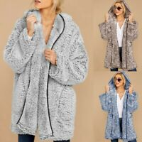 Womens Winter Warm Fuzzy Hooded Cardigan Jacket Coat Ladies Outwear With Pocket