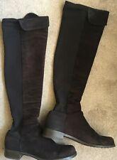 Stuart Weitzman dark brown suede / fabric over knee boots size EU 41