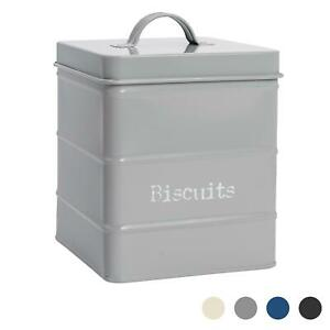 Biscuit Tin Storage Cookie Jar Barrel Canister Kitchen Vintage Metal Grey