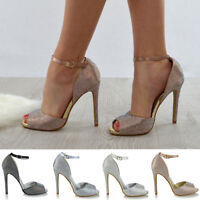 EURWomens Ankle Strap High Heel Diamante Wedding Shoes Ladies Peeptoe Party Prom
