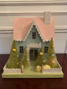 Bethany Lowe Christmas Putz Easter Chick House Pink Blue Green AS IS