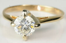 14K Yellow Gold 3/4 CT Round Cut Solitaire Diamond Engagement Estate Ring