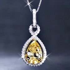 18K White Gold Filled Created Yellow Citrine Crystal Crossover Teardrop Necklace