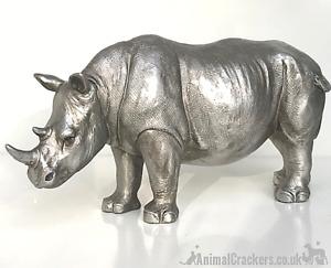 26cm Rhino ornament heavy antique silver effect figurine safari lover gift