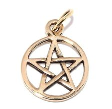 Tiny Pentacle Pentagram Pagan Golden Bronze Pendant Necklace
