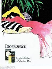 PUBLICITE ADVERTISING 126  1979   Dior parfum Dioressence Par René Gruau ( vert)