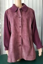 Jerry Lewis Classic Luxuries Suede Leather & Wool Jacket Elbow Patches Purple