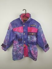 8025d0a126 VTG RETRO WOMENS CRAZY BRIGHT BOLD ATHLETIC SPORTS WINTER SKI COAT JACKET  UK 16