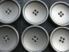 28mm  Large Silver Grey Concave Heavy Metal  Sewing Coat Buttons Set 6