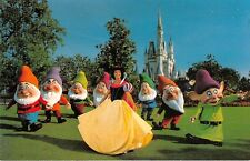 Walt Disney World postcard snow white and seven dwarfs & Cinderella's castle