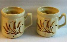 "Pair Set of 2 Vintage Ceramic COFFEE TEA CUPs Mugs WHEAT Stalks Cream Color 3.5"""