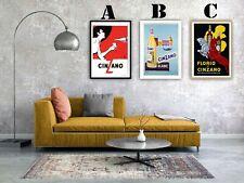Vintage Cinzano Advertising Art Print Poster Set. Choice of 3 Prints!