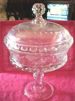 Vintage Etched Frosted leaves design Clear Glass Covered Stemmed Dish Bowl