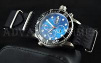 DEEP BLUE 40mm Light Blue Dial Black Bezel 1000 SAPPHIRE Watch w/ Extra Strap