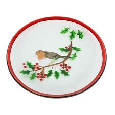 Village Candle 16cm Christmas Robin Hand Painted Candle Plate