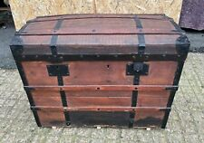 More details for a pinewood domed top chest with metal banding