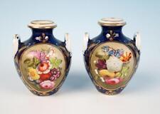 Pair Early 19th C. Derby Miniature Porcelain Urn Vase Cobalt Antique Royal Crown