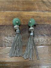 Shanghai Tang Jade and sterling Silver earrings
